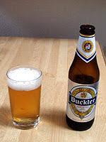 a bottle of Buckler beer.