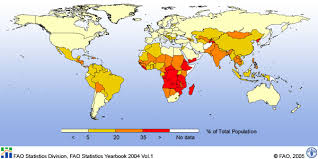 Coloreadas las zonas del mundo existe hambre